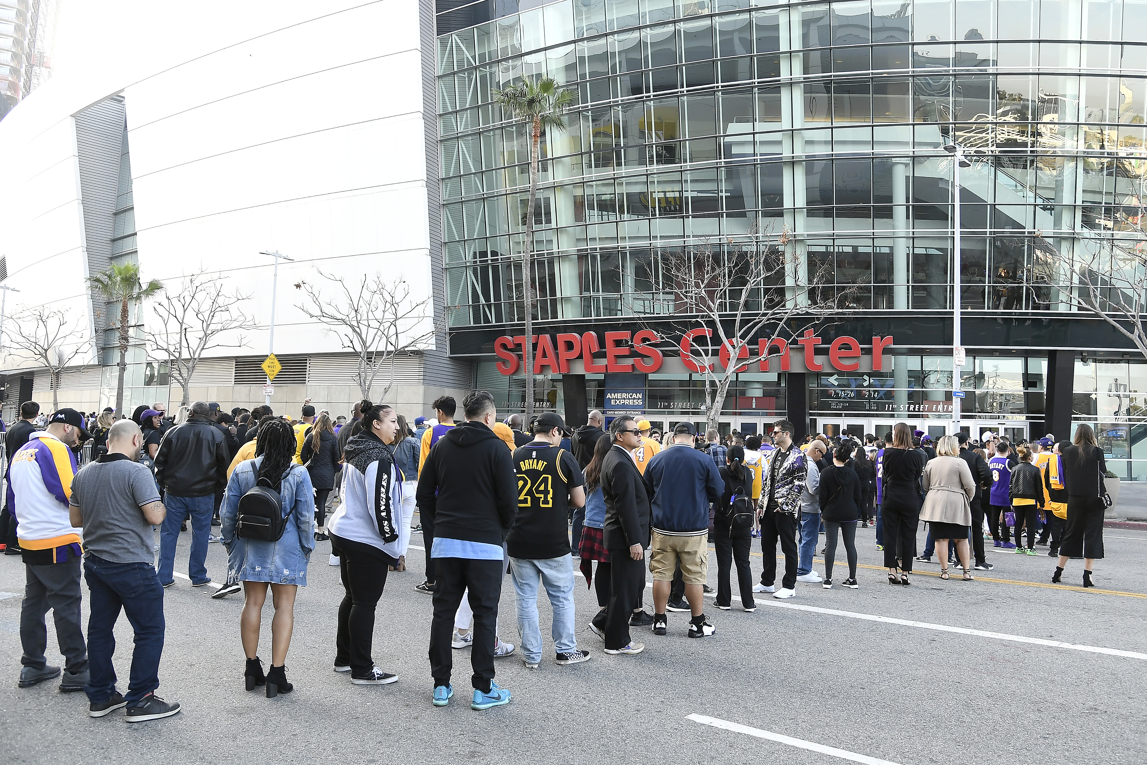 Fans arrive outside prior to a memorial service for Kobe and Gianna Bryant at Staples Center on February 24, 2020 in Los Angeles, California.