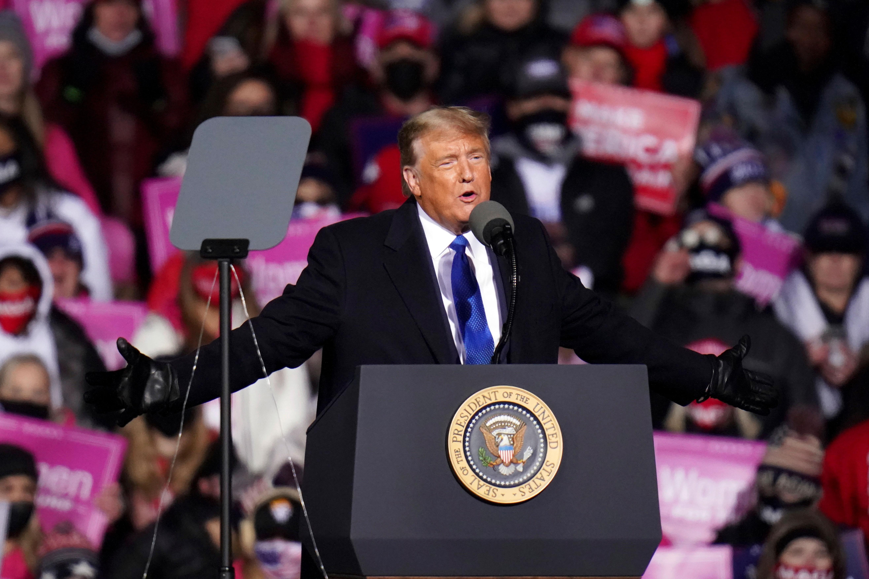 President Donald Trump speaks at a rally in Omaha, Nebraska, on October 27.