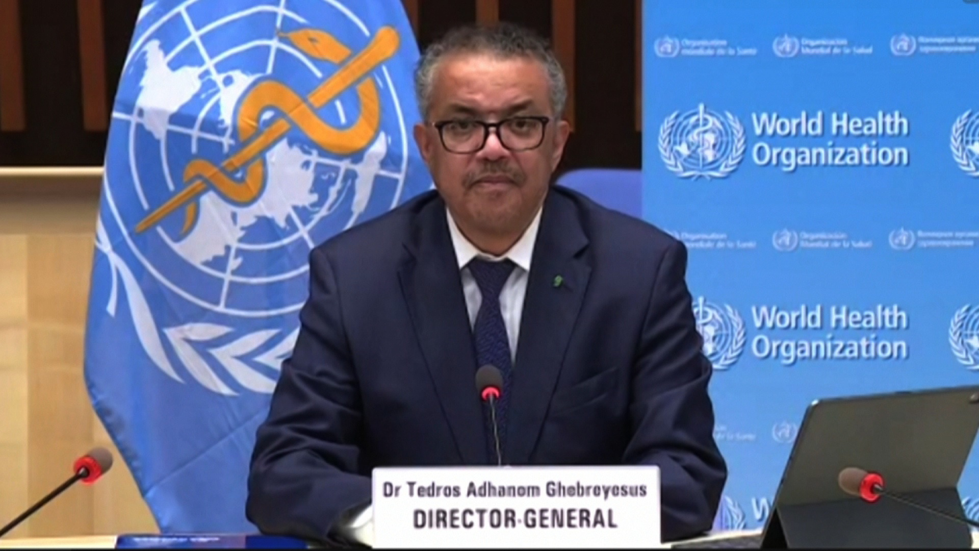 Tedros Adhanom Ghebreyesus speaks at a briefing in Geneva, Switzerland, on October 12.