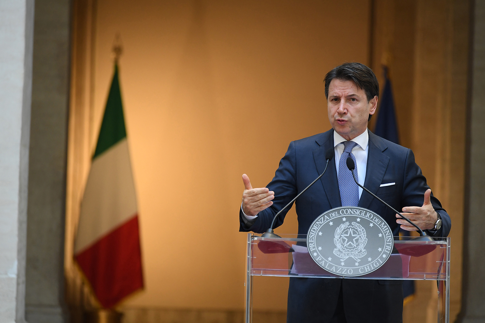 Italian Prime Minister Giuseppe Conte speaks at a press conference in Rome, on June 3.