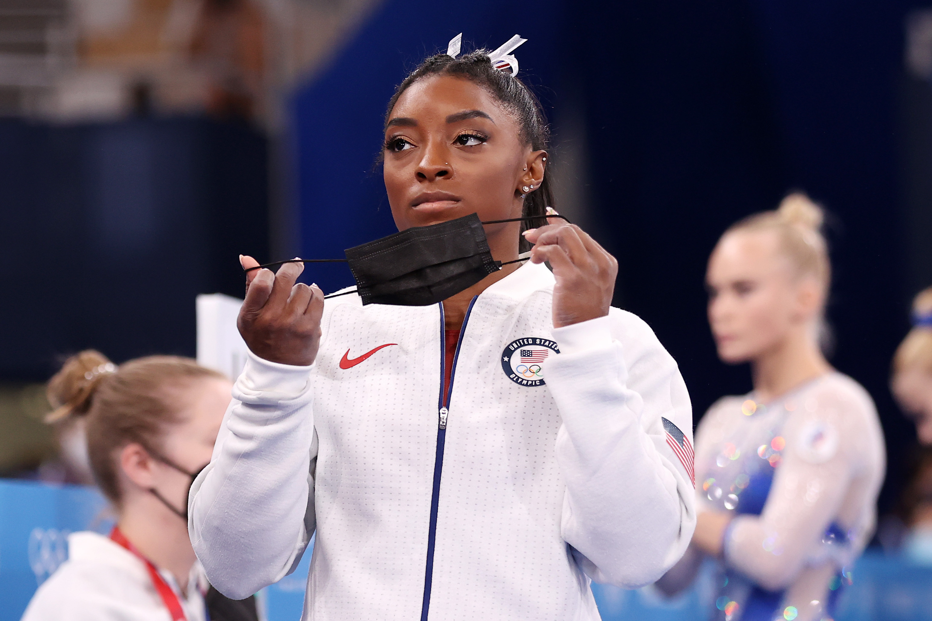 Simone Biles is seen Tuesday during the team all-around competition in Tokyo.