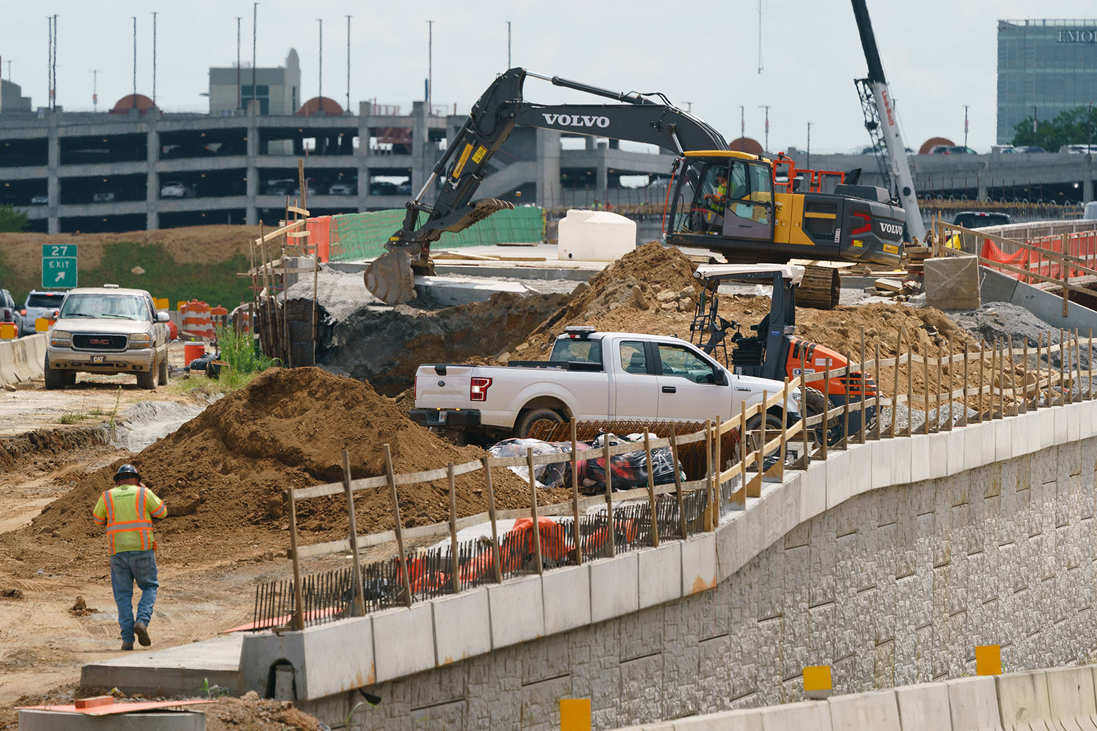 Construction takes place on Interstate 285 in Sandy Springs, Georgia, on July 14.