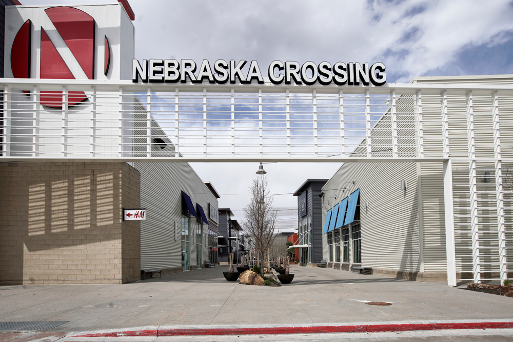 The Nebraska Crossing Outlet shopping mall is seen in Gretna, Nebreska, Tuesday, April 14.