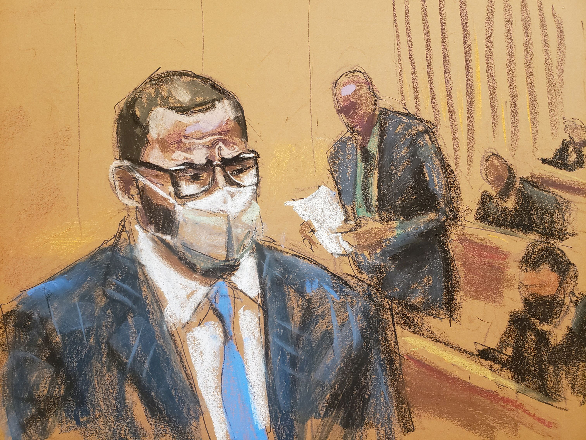 R. Kelly sits as the jury foreman reads the guilty verdict in Kelly's trial at Brooklyn's Federal District Court in New York, on Monday, September 27.
