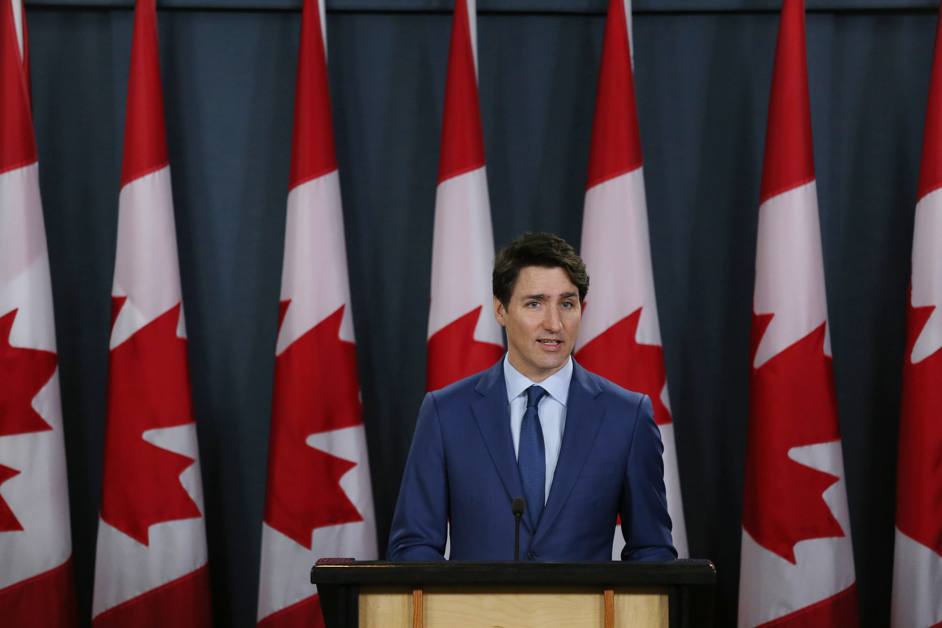 Canadian Prime Minister Justin Trudeau attends a news conference in Ottawa on March 7, 2019.