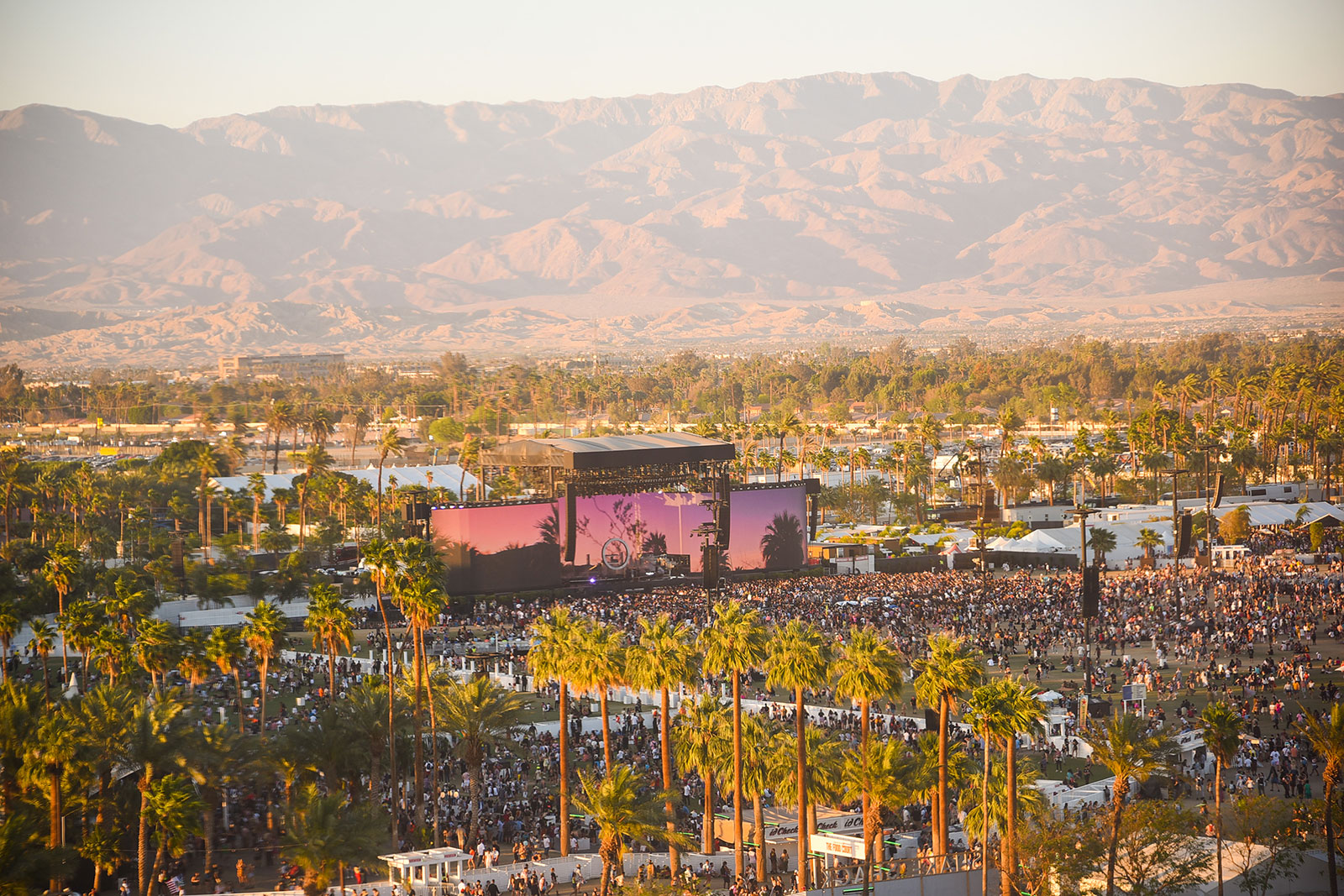 An aerial view of the 2019 Coachella Valley Music and Arts Festival in Indio, California.