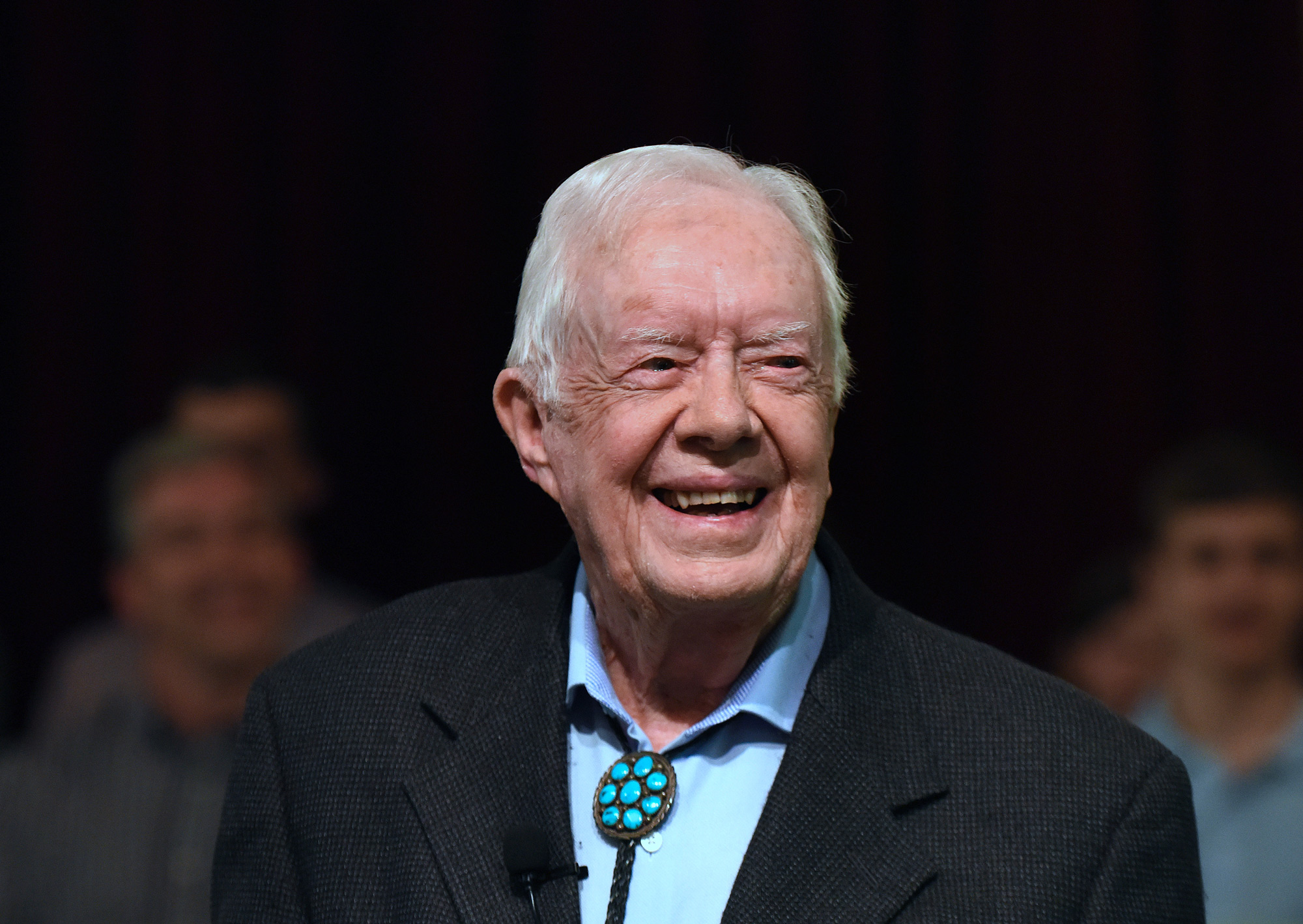 Former President Jimmy Carter speaks to the congregation at Maranatha Baptist Church in Plains, Georgia on April 28, 2019.