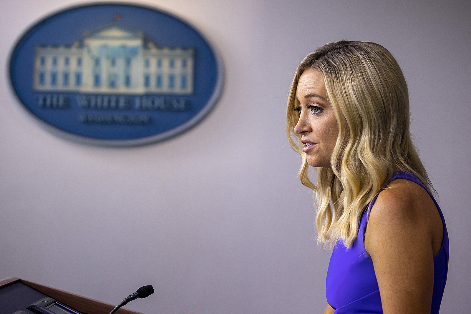 White House Press Secretary Kayleigh McEnany speaks during a press briefing at the White Houseon August 13 in Washington.