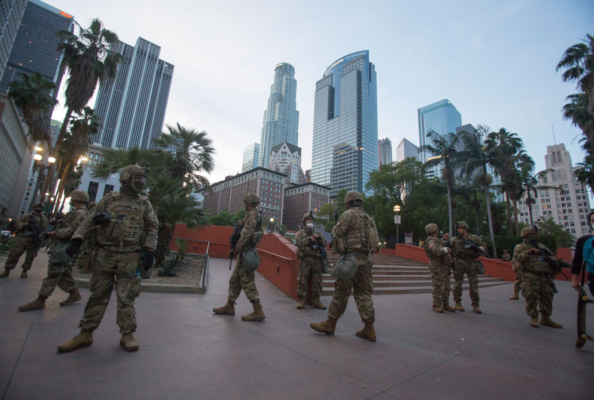 Members of the California National Guard patrol Los Angeles on Sunday, May 31.