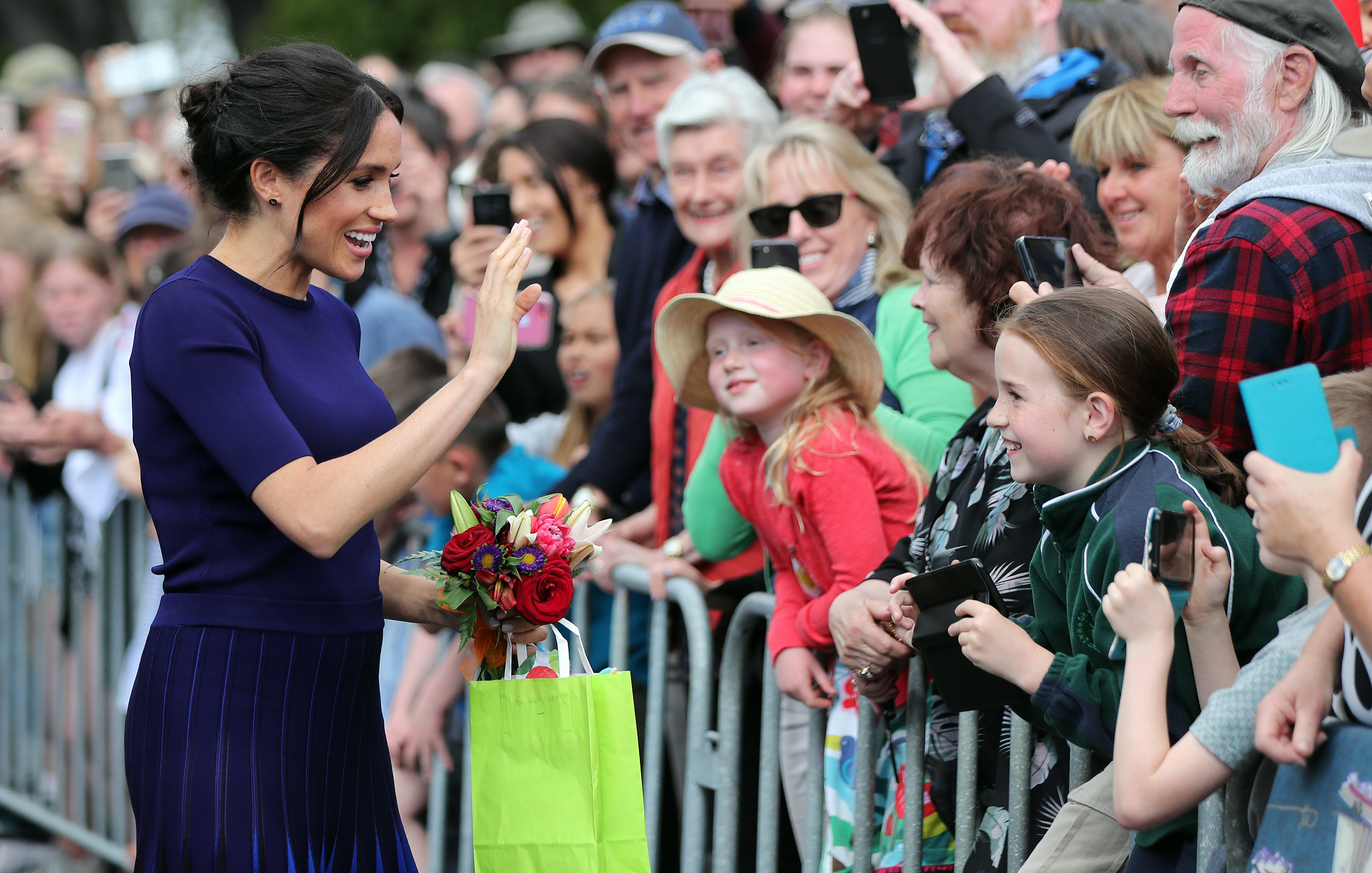 Meghan, Duchess of Sussex greets the public at the public walkabout at the Rotorua Government Gardens on October 31, 2018 in Rotorua, New Zealand.