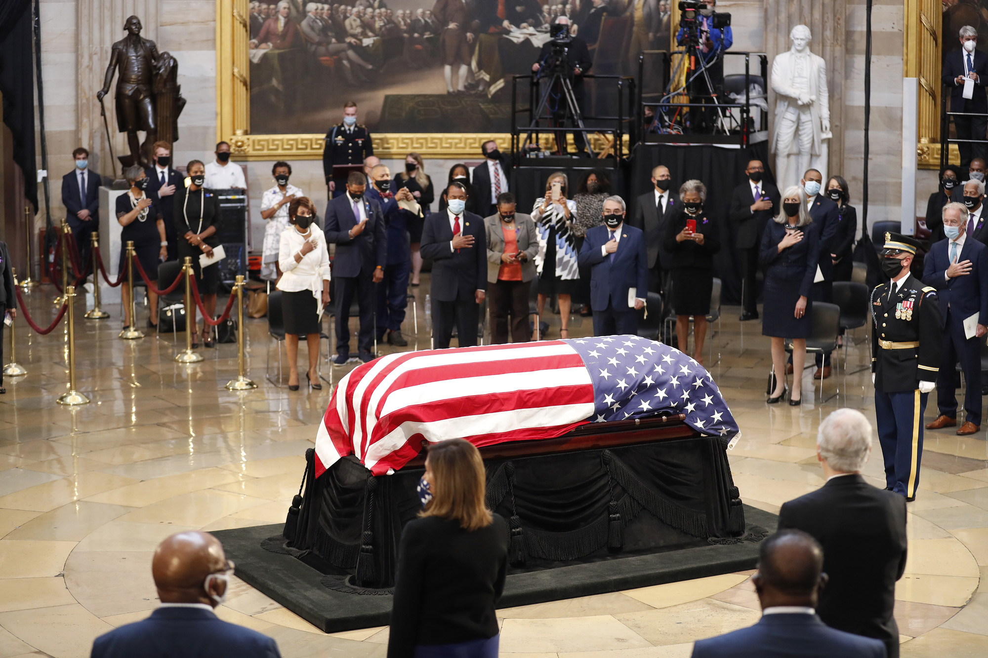 The casket of Rep. John Lewis arrives for a memorial service in the Capitol Rotunda on July 27 in Washington, DC.