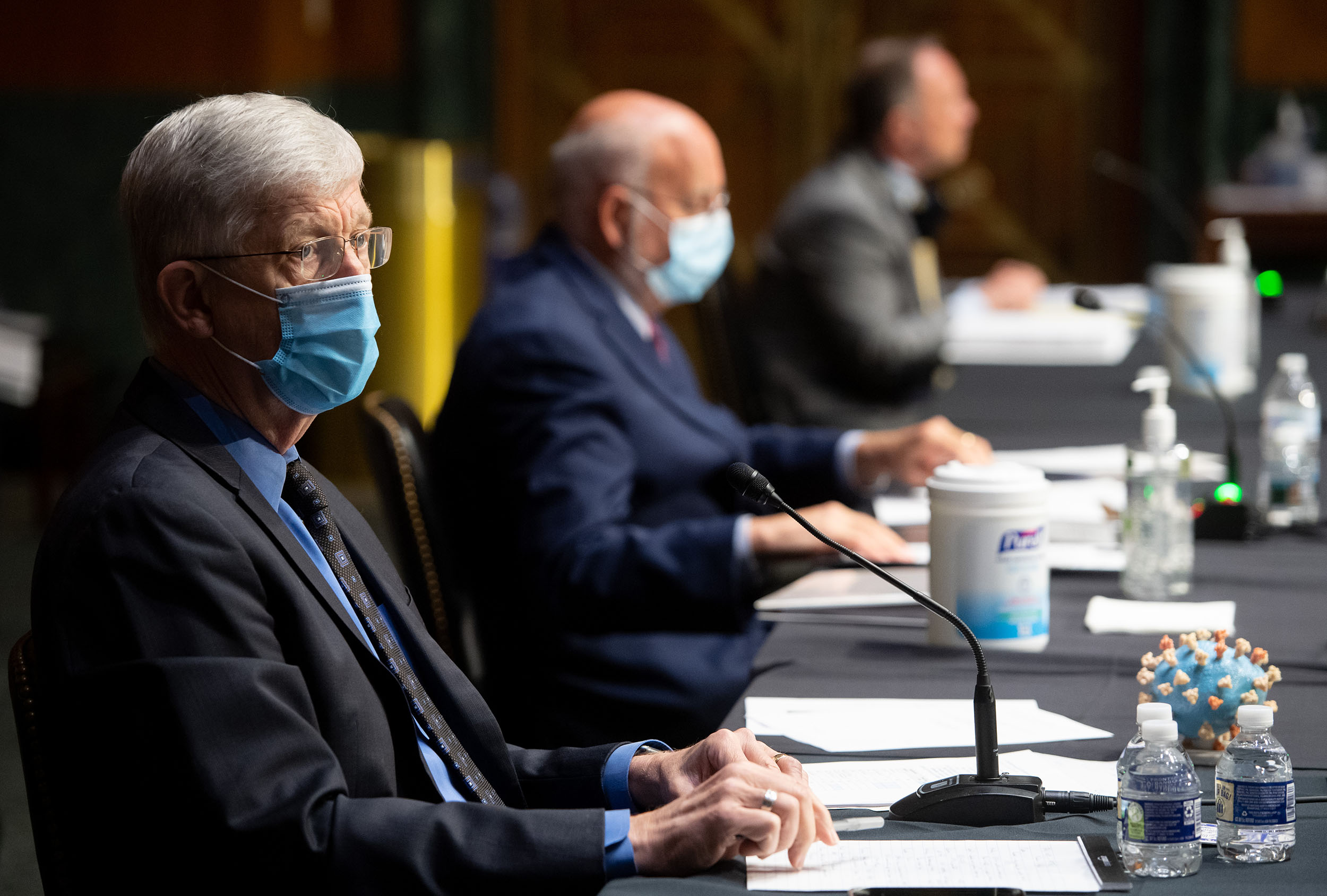 Francis Collins, director of the National Institutes of Health, wears a protective mask during a Senate Appropriations Subcommittee hearing in Washington, DC, on July 2.