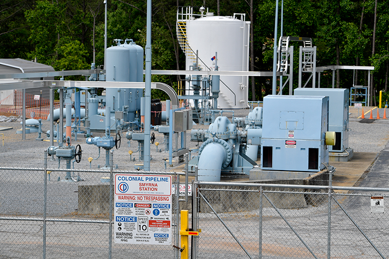 A Colonial Pipeline station is seen, Tuesday, May 11, in Smyrna, Georgia, near Atlanta.