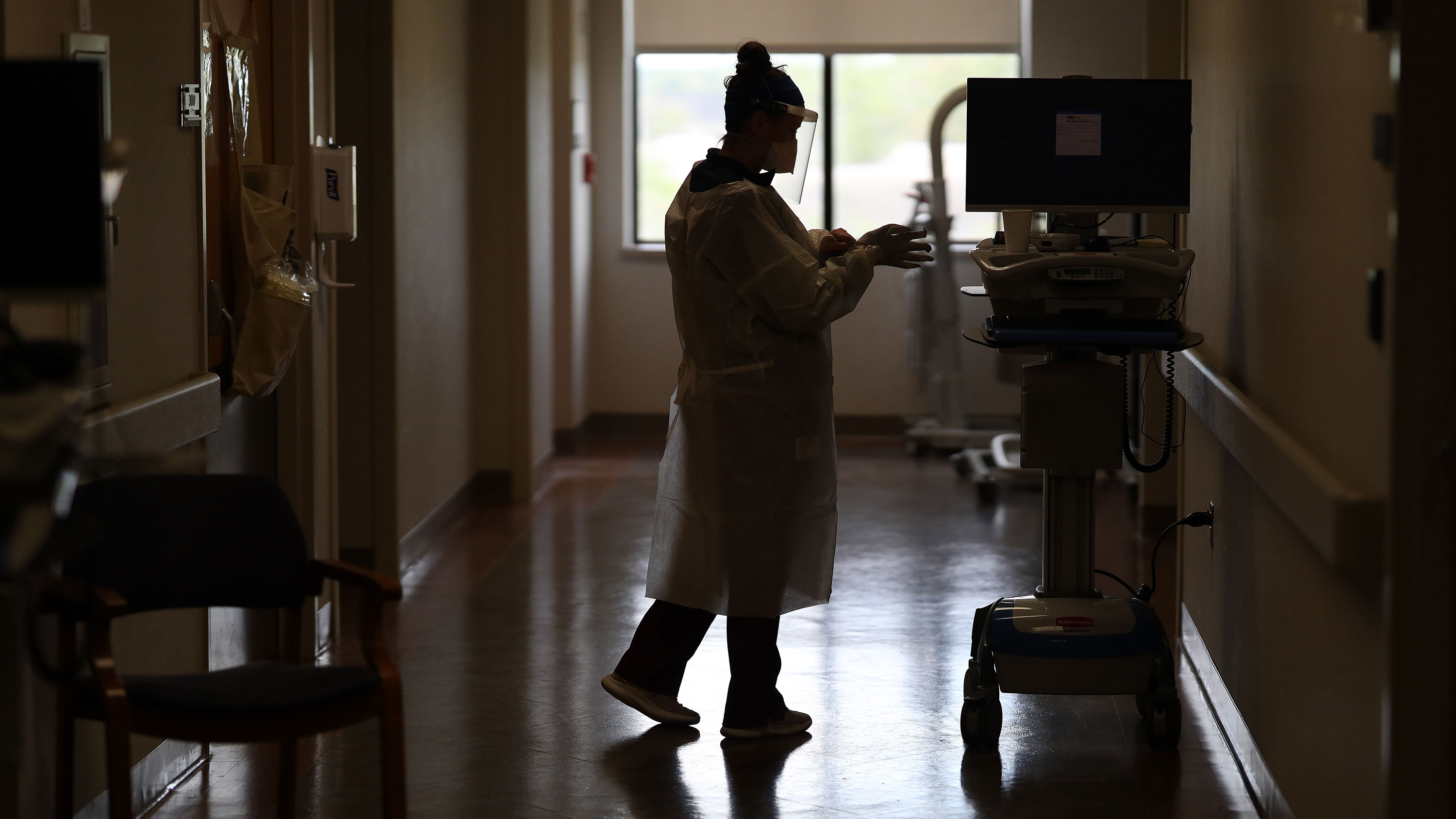 A medical worker in the intensive care unit at MedStar St. Mary's Hospital in Leonardtown, Maryland, on May 1.