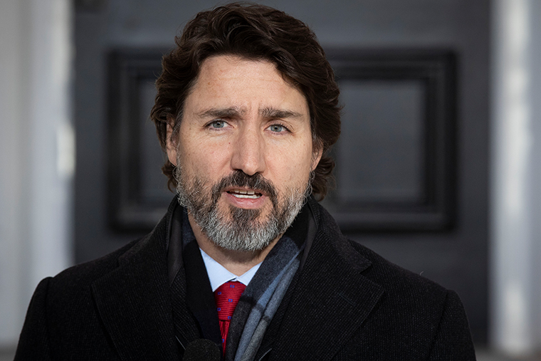 Canadian Prime Minister Justin Trudeau speaks during a Covid-19 briefing at the Rideau Cottage in Ottawa, Ontario, on December 18, 2020.