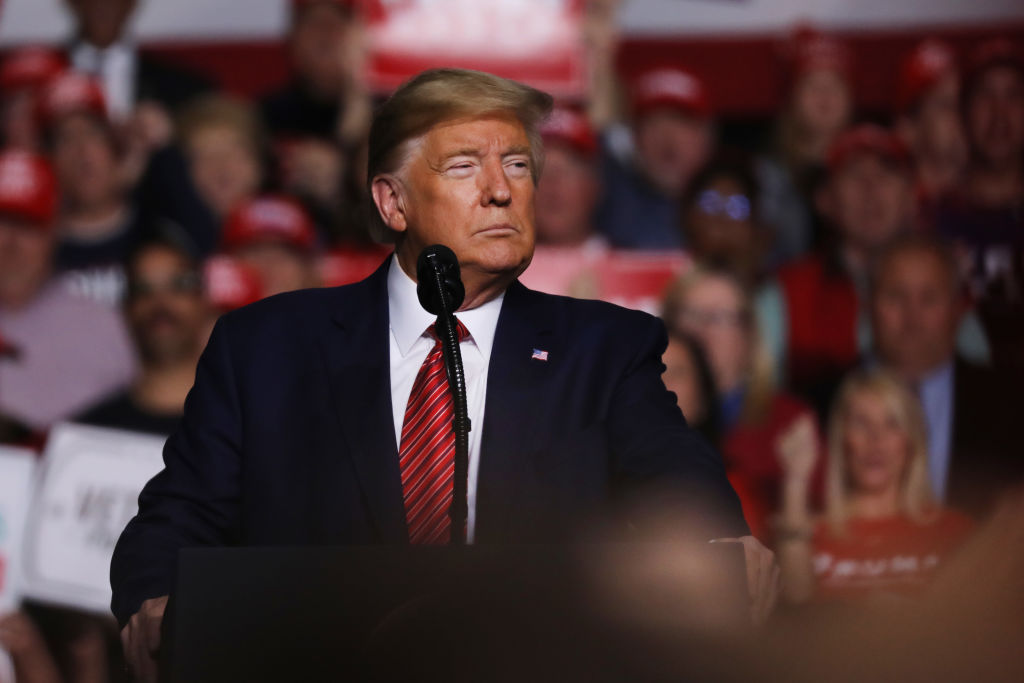 President Donald Trump appears at a rally before the South Carolina primary on February 28, 2020 in North Charleston, South Carolina.