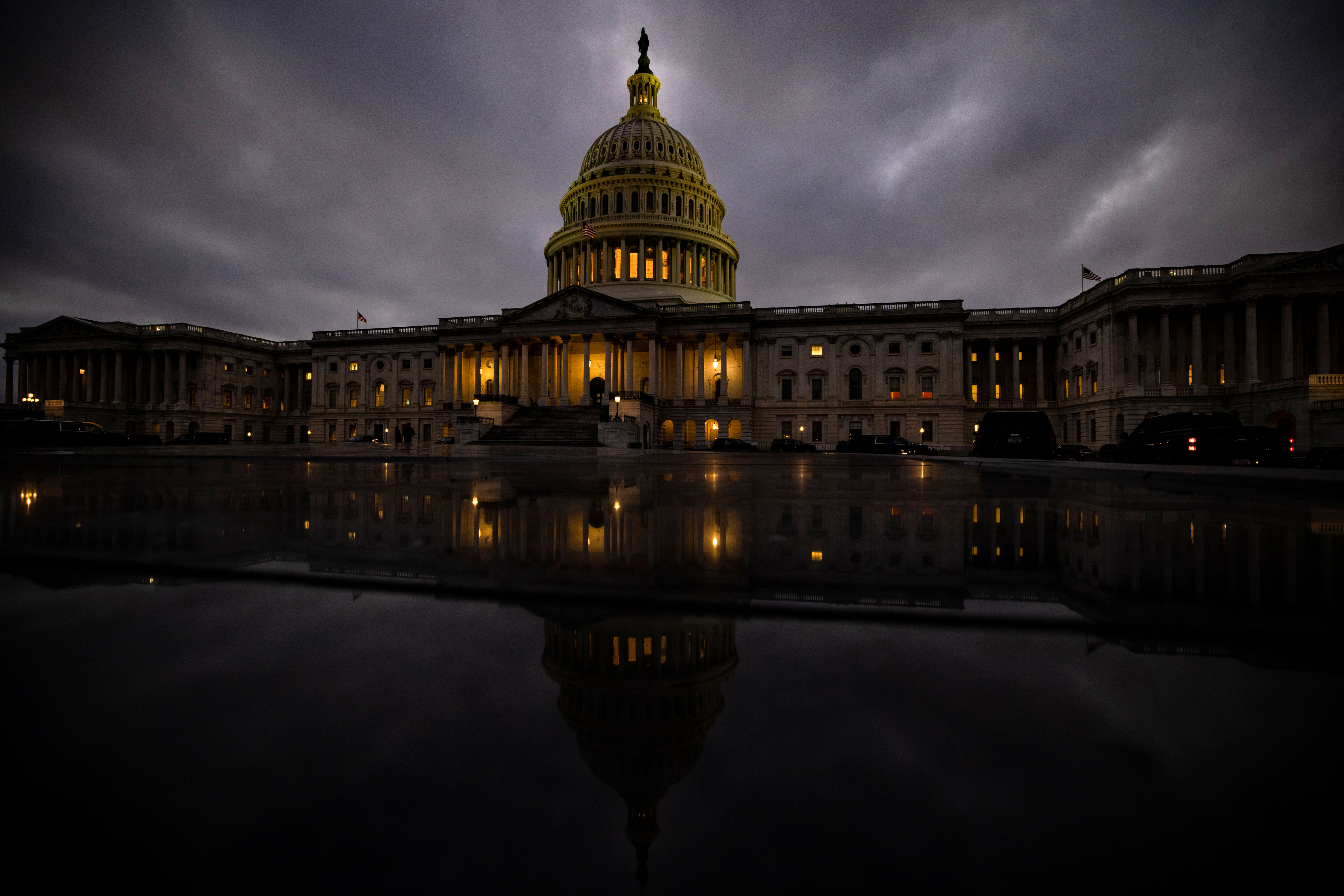 Dusk falls over the US Capitol in Washington, DC, on December 20.