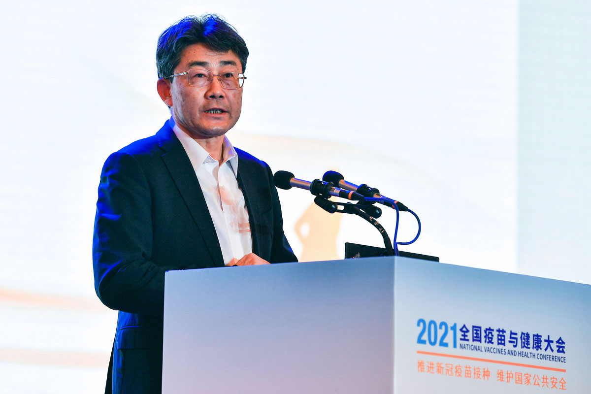 Gao Fu, director of the Chinese Center for Disease Control and Prevention, speaks at the National Vaccines and Health conference in Chengdu on Saturday, April 10.