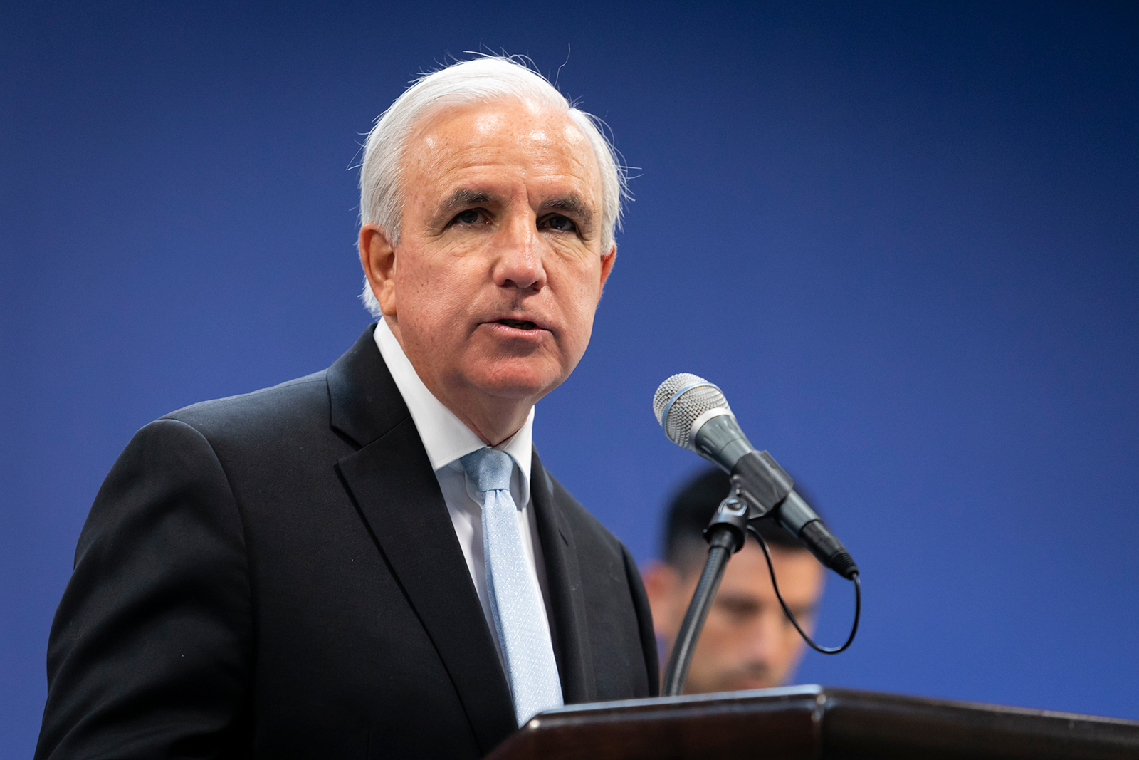 Miami-Dade Mayor Carlos Gimenez speaks during a press conference in Miami on June 8