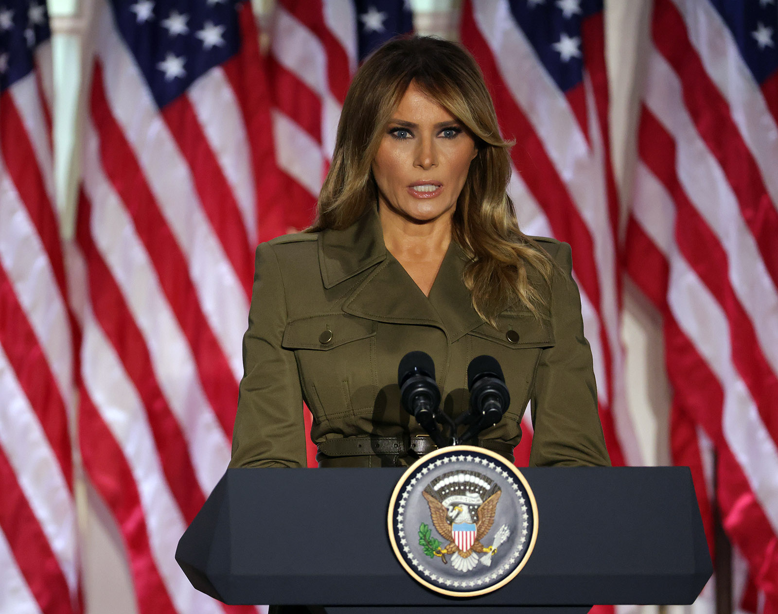 First Lady Melania Trump addresses the Republican National Convention from the Rose Garden at the White House on August 25, in Washington.