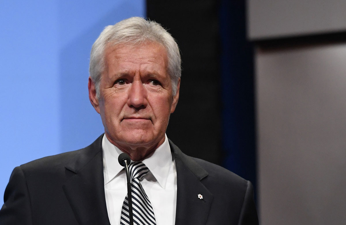 """""""Jeopardy!"""" host Alex Trebek speaks as he is inducted into the National Association of Broadcasters Broadcasting Hall of Fame during the NAB Achievement in Broadcasting Dinner at Encore Las Vegas on April 9, 2018 in Las Vegas, Nevada."""
