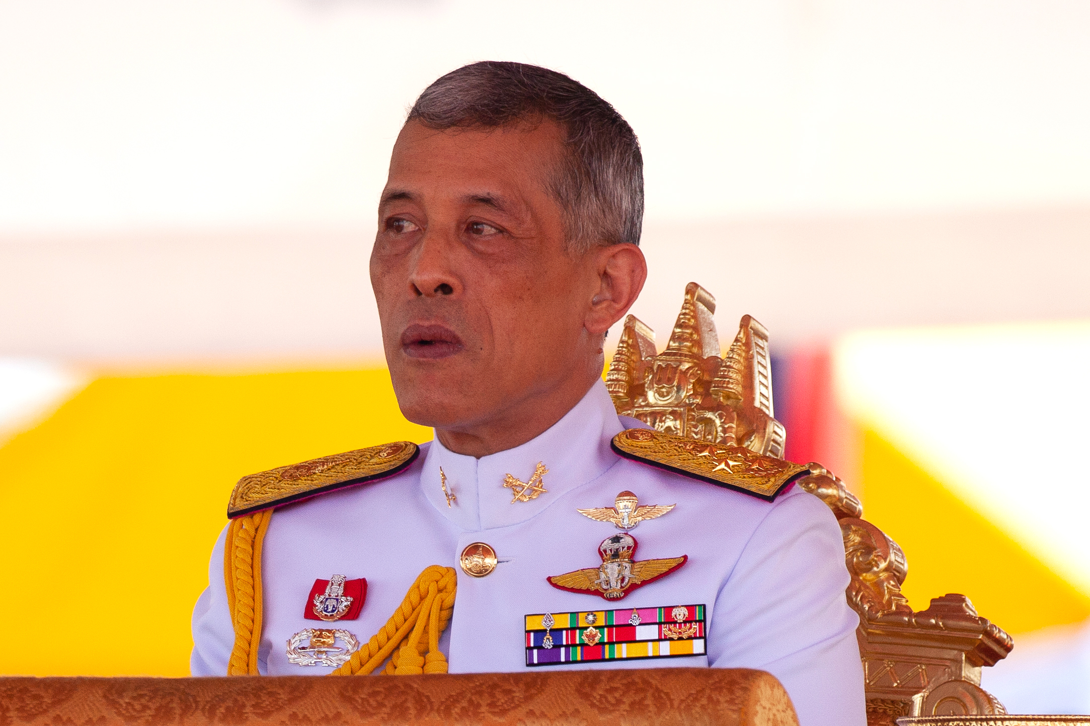 Thai King Maha Vajiralongkorn presides over the annual royal plowing ceremony outside Bangkok's royal palace on May 14, 2018.
