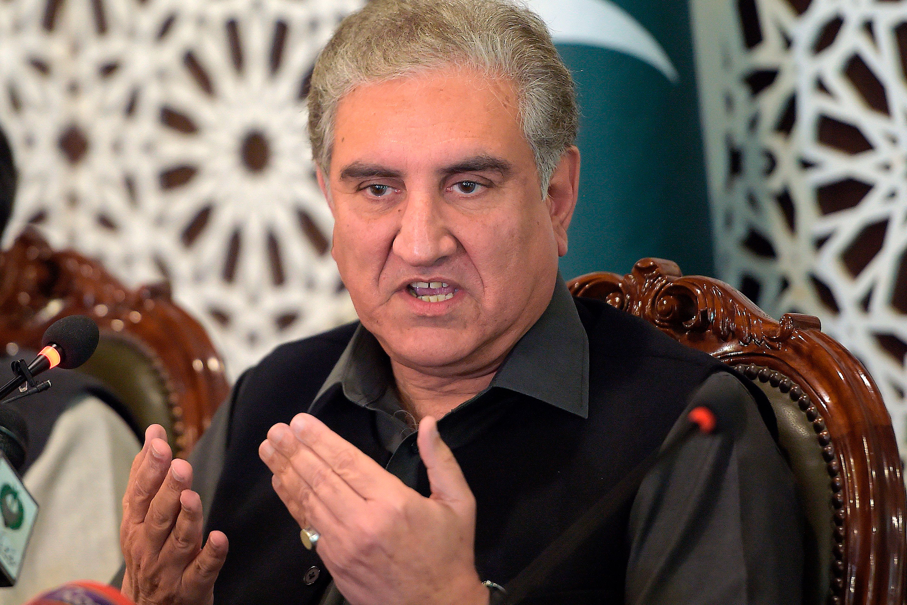 Pakistan's Foreign Minister Shah Mahmood Qureshi speaks during a news conference on March 1 in Doha, Qatar.