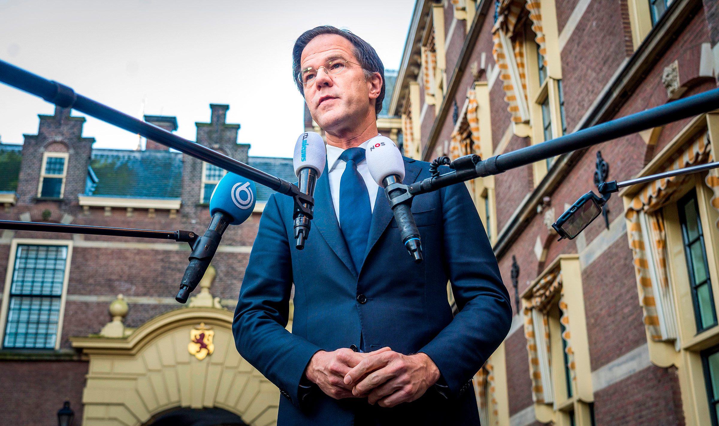 Dutch Prime Minister Mark Rutte speaks to the press in the Hague, Netherlands, on January 25.