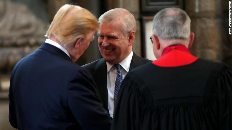 Prince Andrew, Duke of York, smiles and shakes hands with Trump during a tour of Westminster Abbey in London back in June.