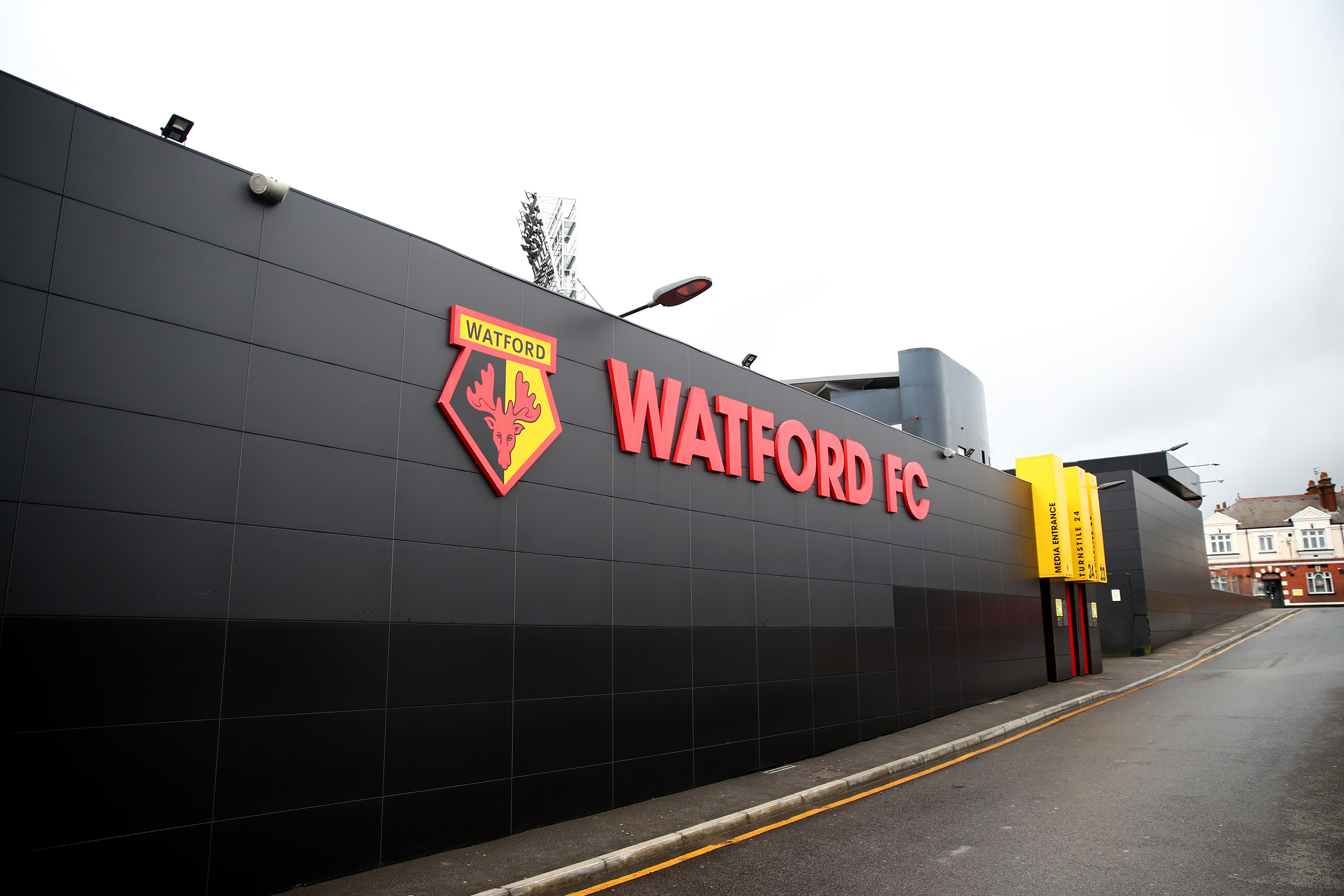 A general view outside Vicarage Road, home of Watford FC in London, England, on March 14.