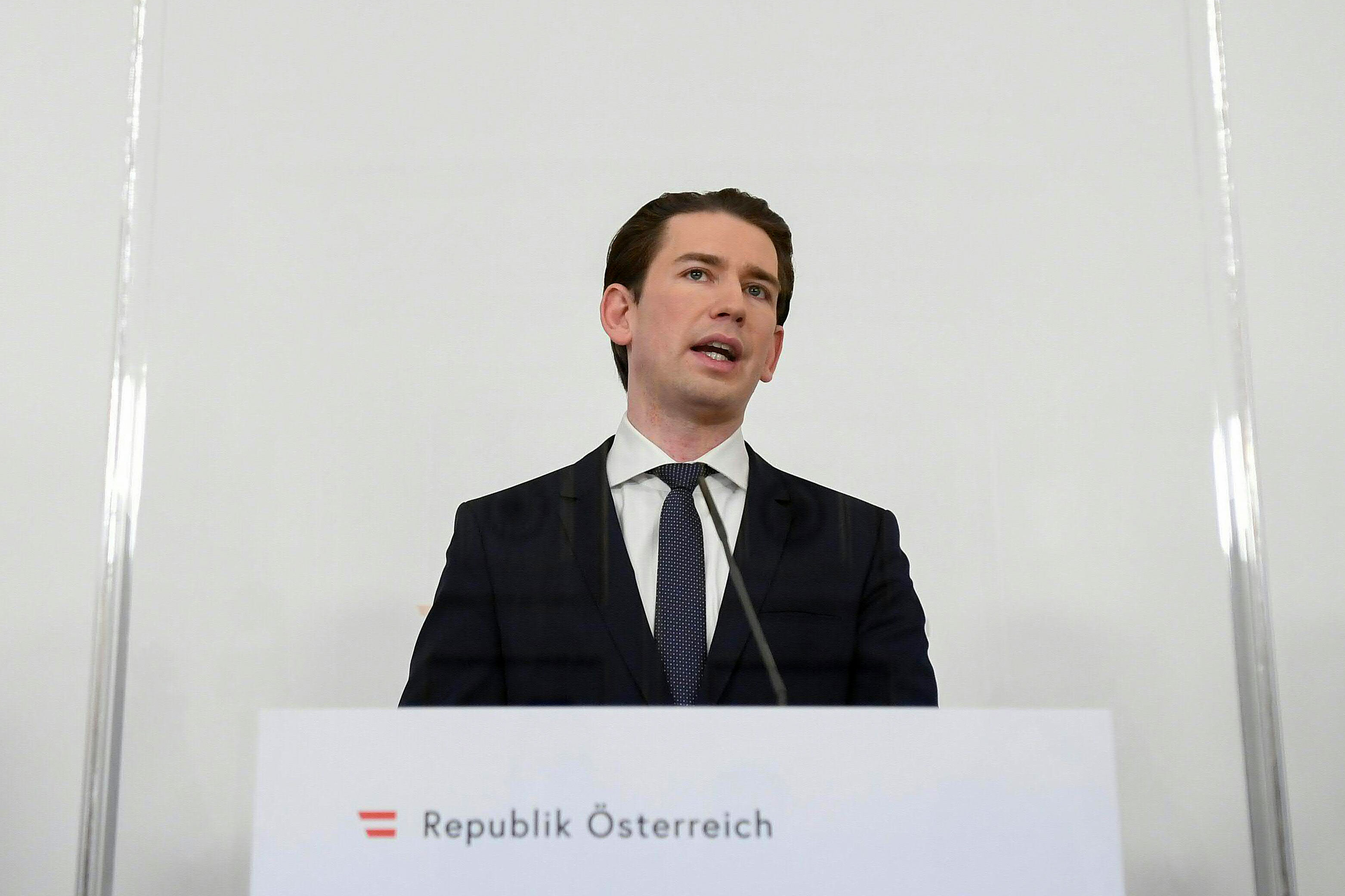 Austrian Chancellor Sebastian Kurz speaks at a press conference in Vienna, Austria, on February 1.