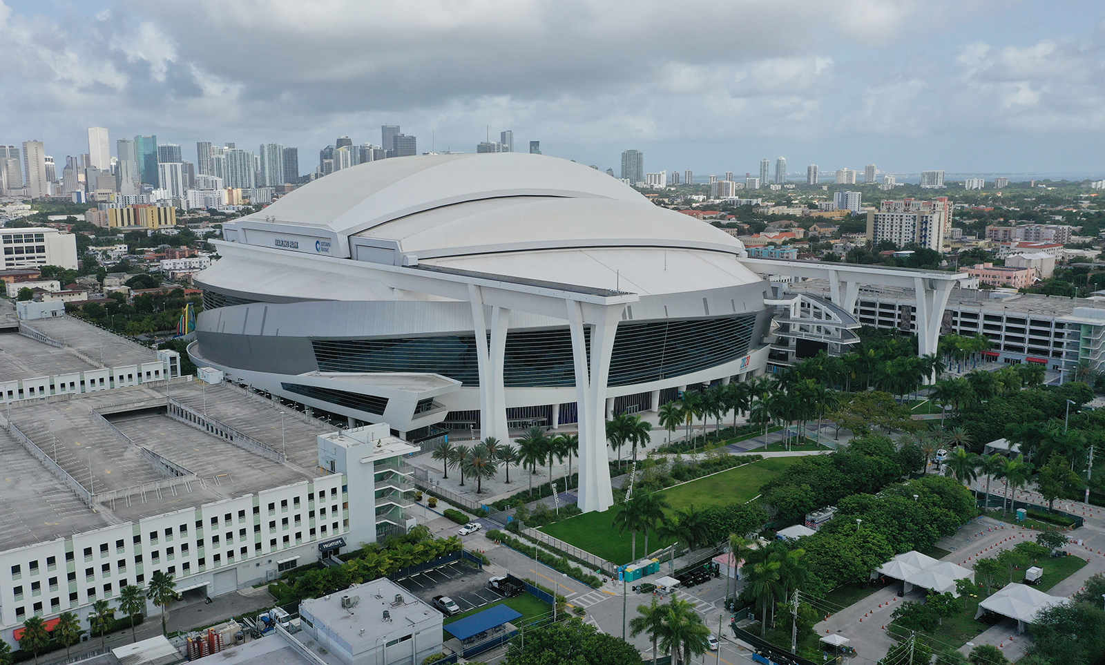 An aerial view of Marlins Park on July 27 in Miami.
