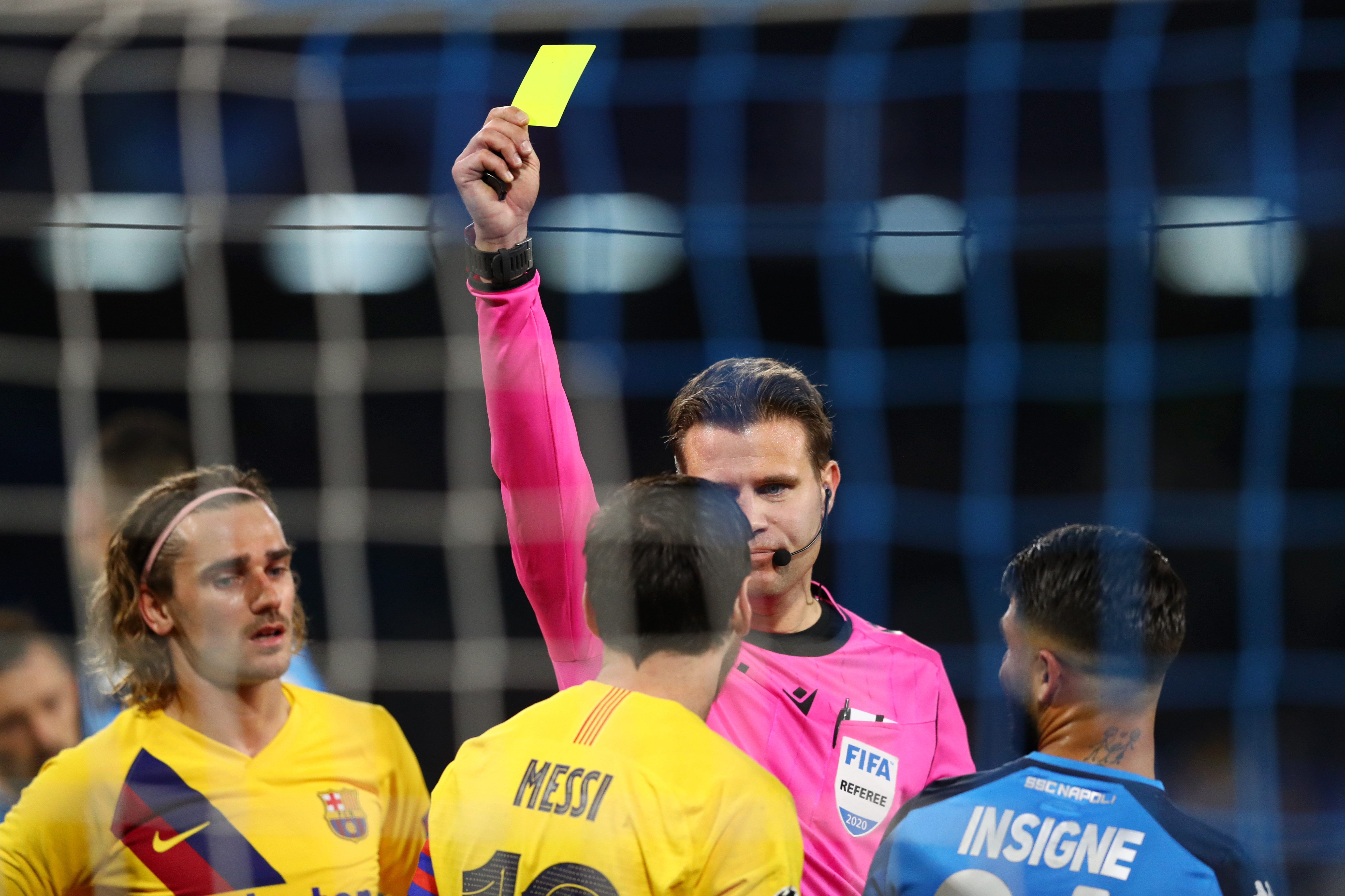 Lionel Messi received a yellow card for a foul on David Ospina.