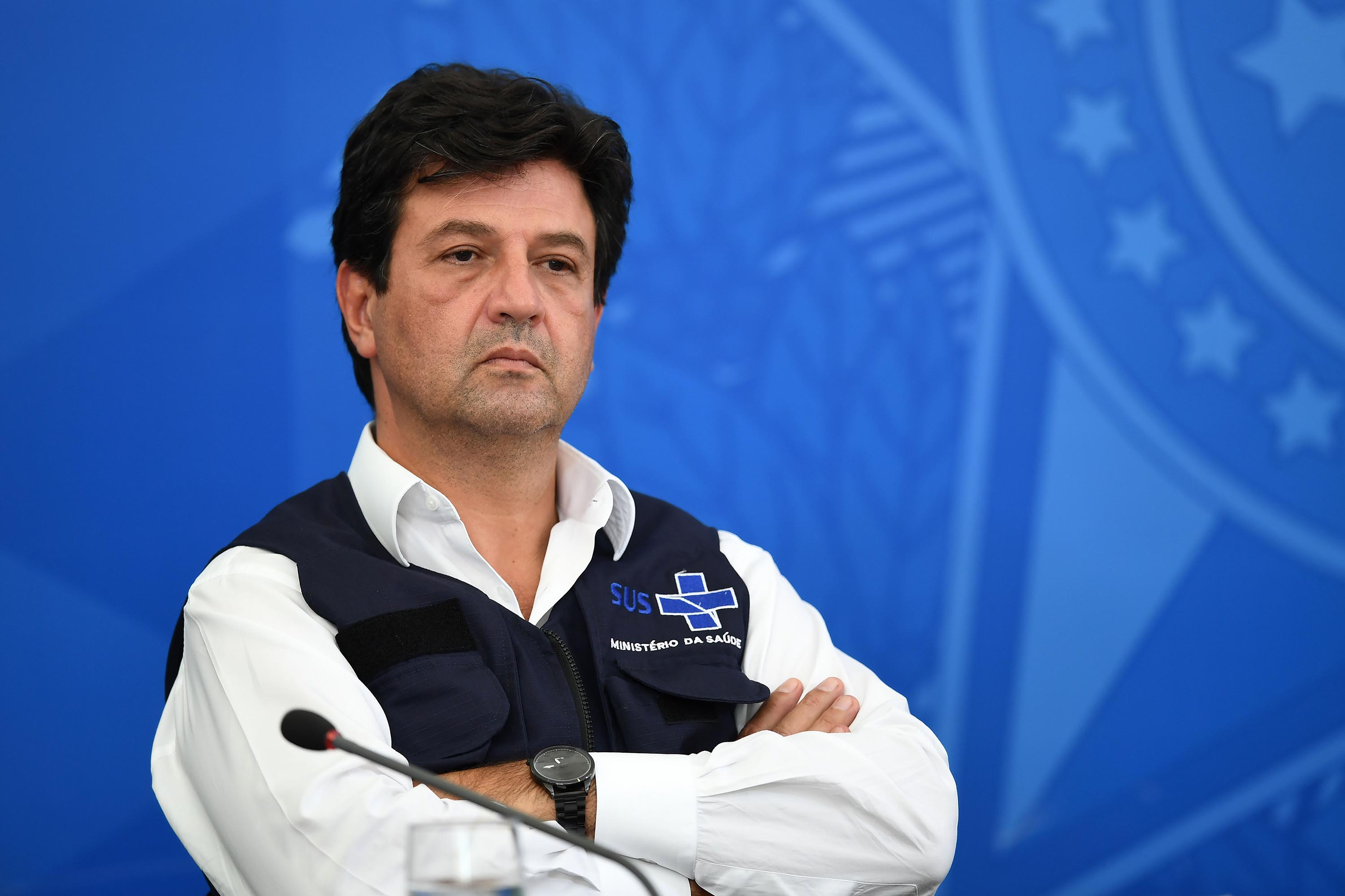 Brazil's Health Minister Luiz Henrique Mandetta is seen during a press conference on April 3.