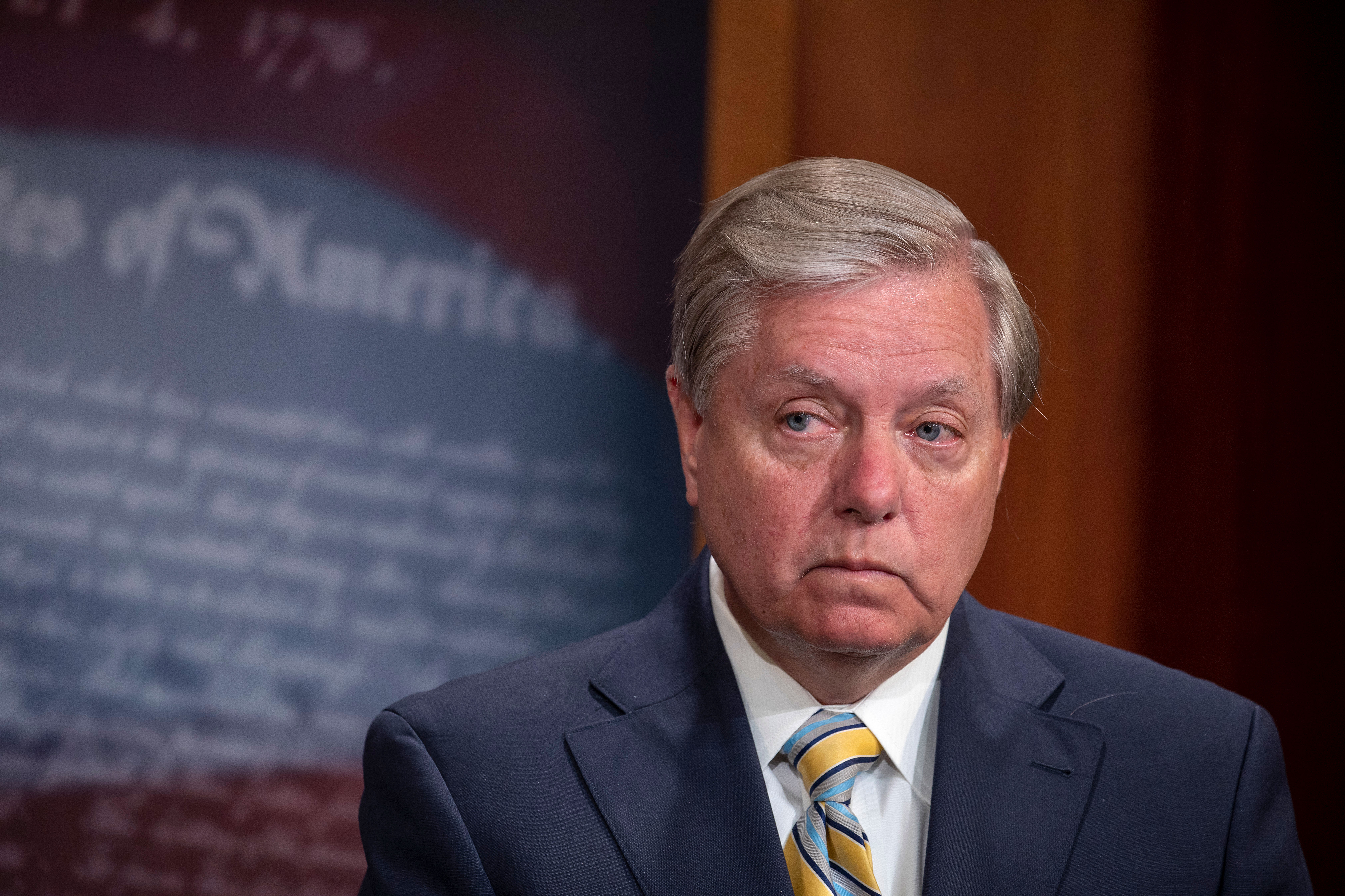 Sen. Lindsey Graham attends a press conference in Washington, DC, on July 1.