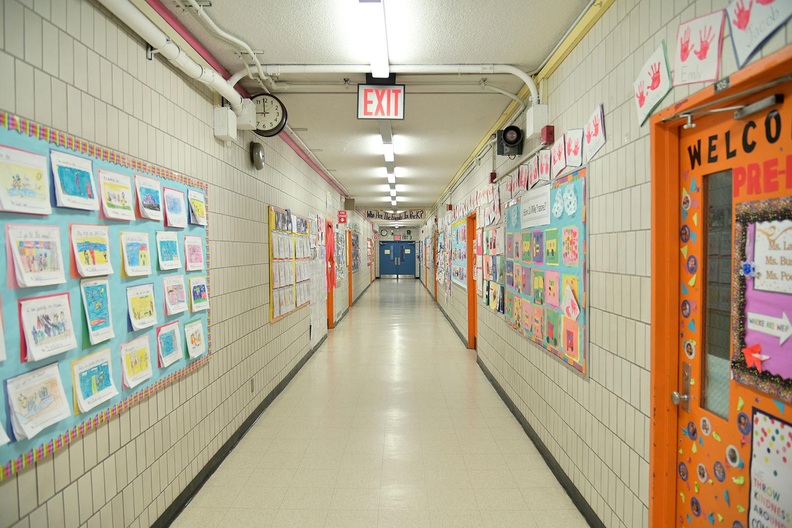In this March 17 file photo, a school hallway is empty in the Manhattan borough of New York City.