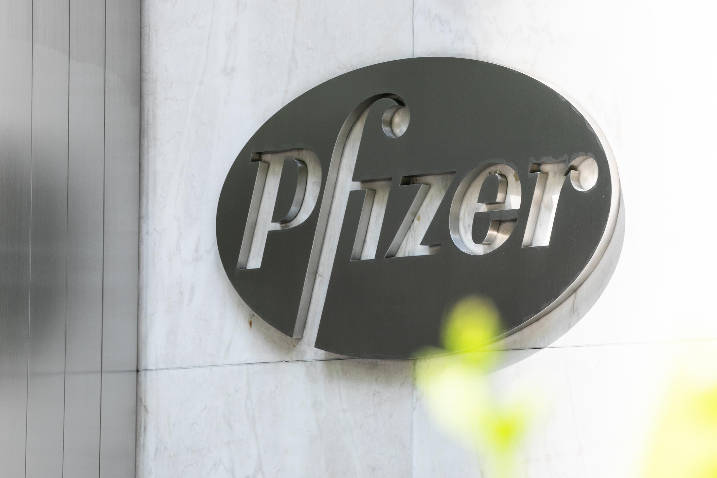 Pfizer Inc. signage is seen on July 22 in New York City.