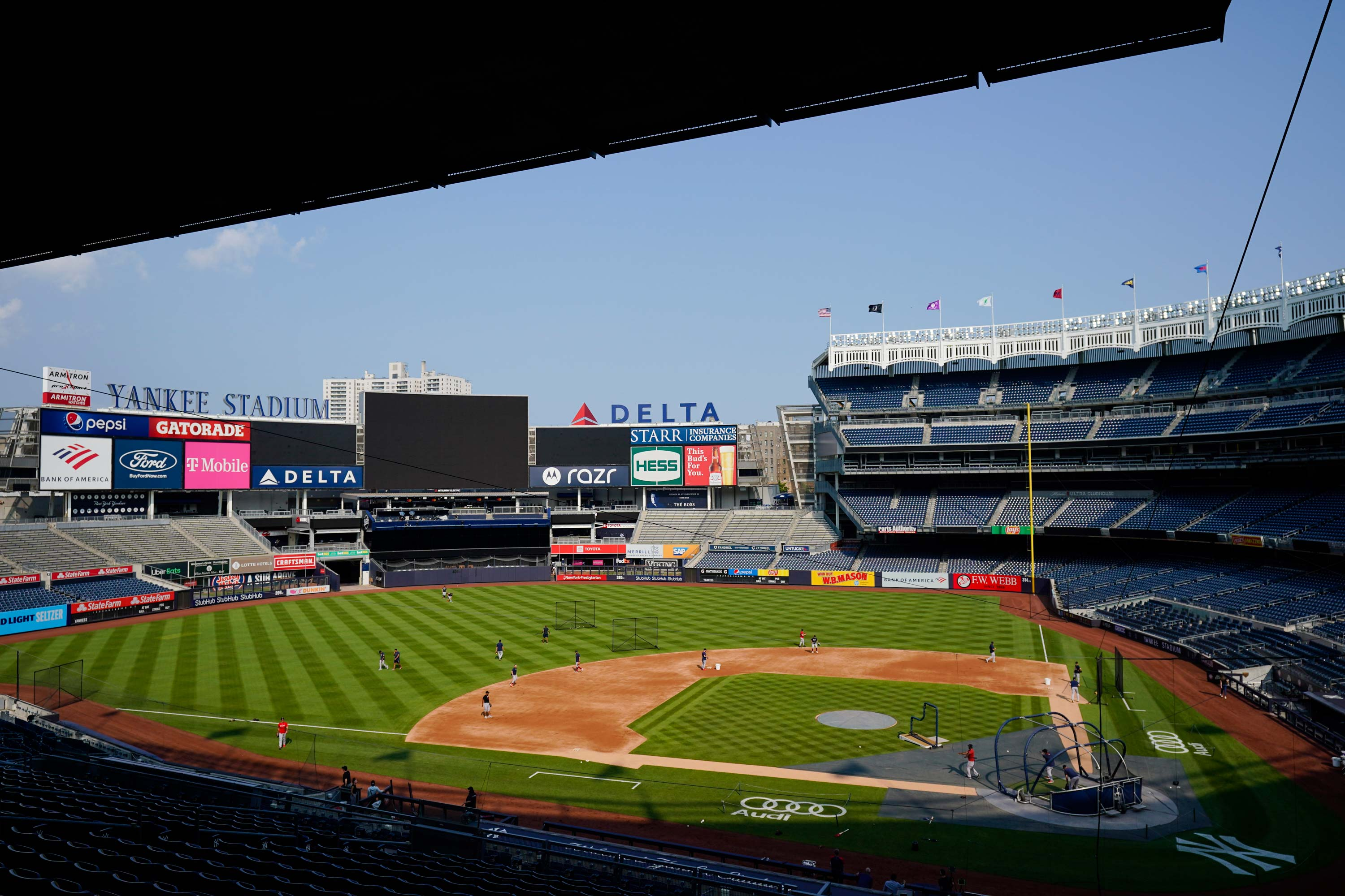 Boston Red Sox players take batting practice at Yankee Stadium on July 15 in New York.