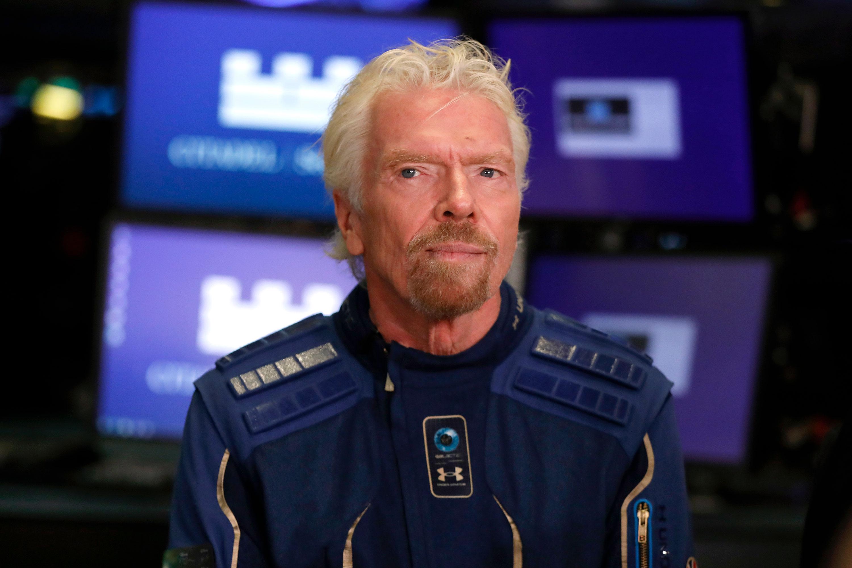 Richard Branson is interviewed at New York Stock Exchange, in 2019.