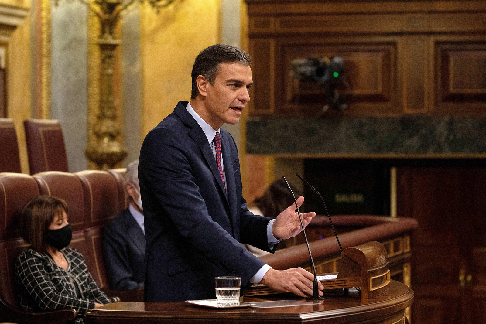 Spanish Prime Minister Pedro Sanchez addresses a parliamentary session in Madrid on October 22.