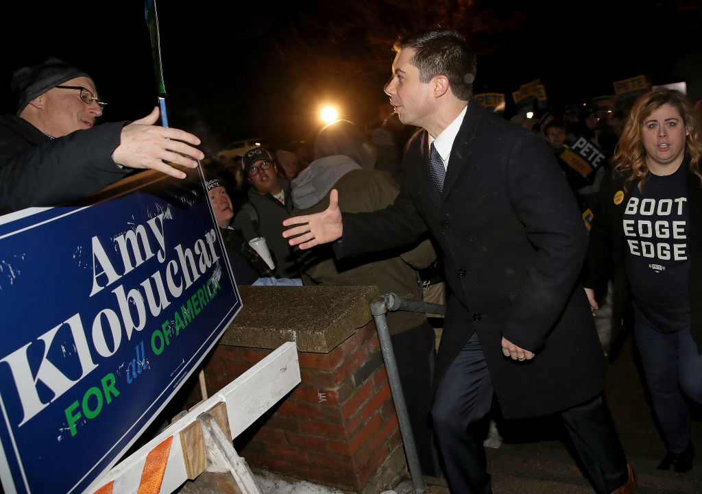 Former South Bend, Indiana, Mayor Pete Buttigieg greets New Hampshire voters outside Webster School Feb. 11, 2020 in Manchester, New Hampshire.
