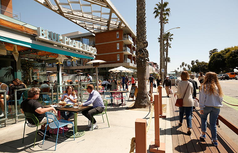 People dining at Blue Plate Taco in Santa Monica, Monday, March 29.