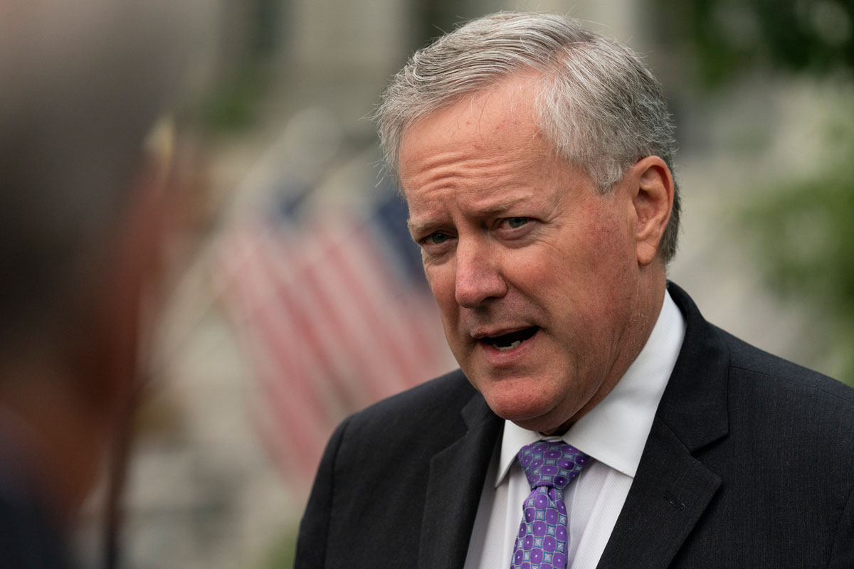Chief of Staff Mark Meadows speaks with reporters at the White House on Thursday, September 17.