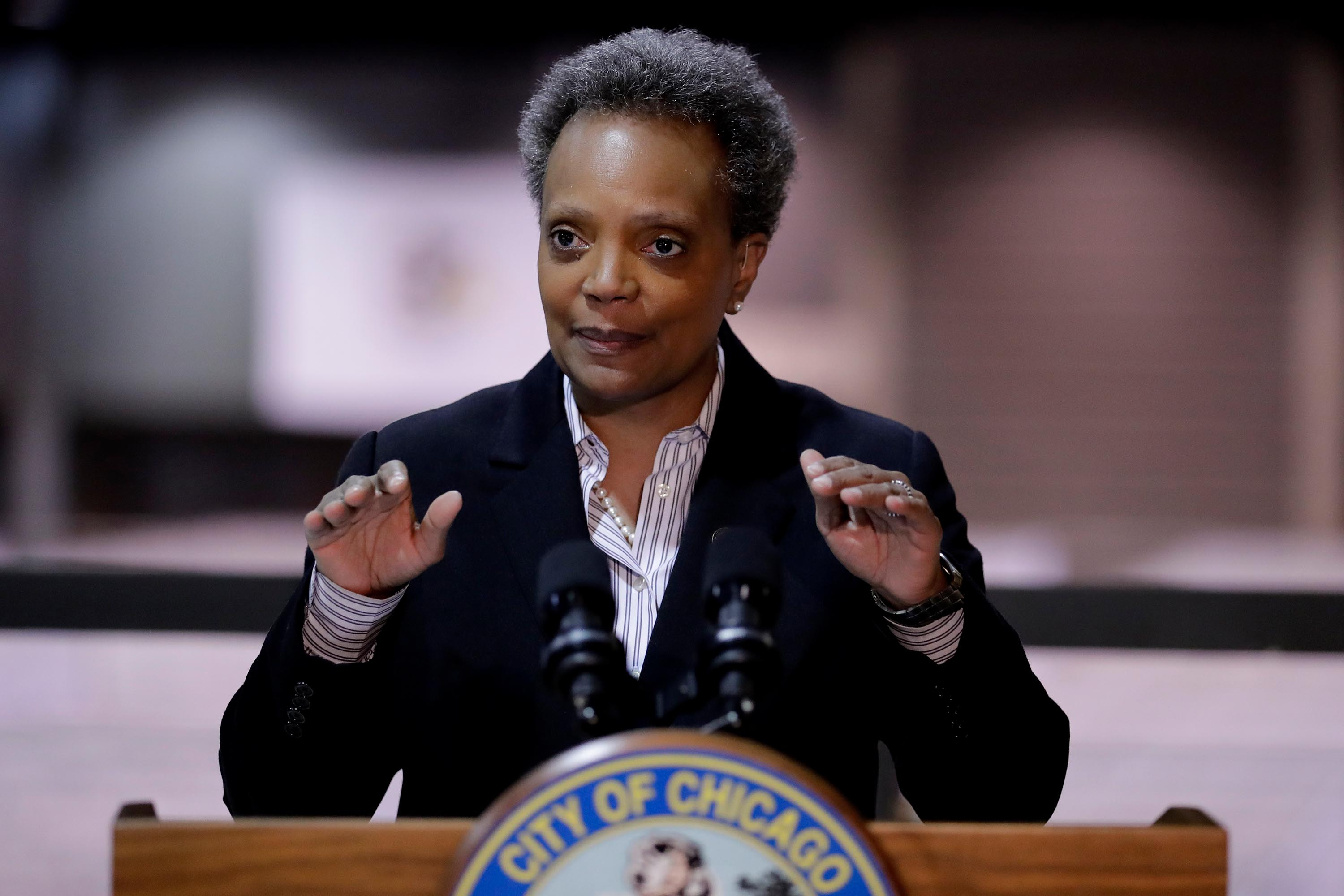 Chicago Mayor Lori Lightfoot speaks during a news conference in Chicago, Friday, April 10.