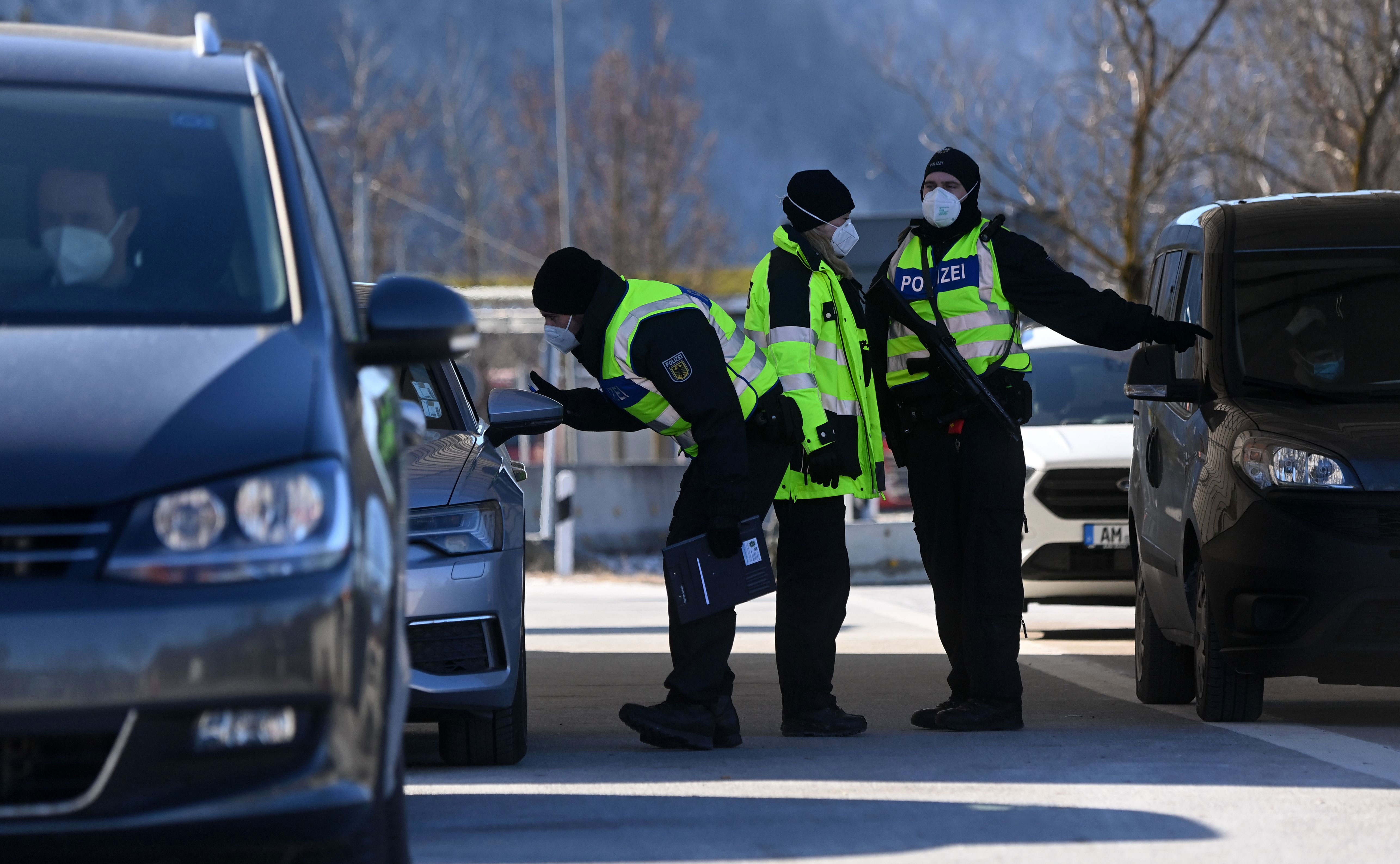 Federal Police officers check drivers at the border crossing between Austria and Germany, near Kiefersfelden, on February 14.