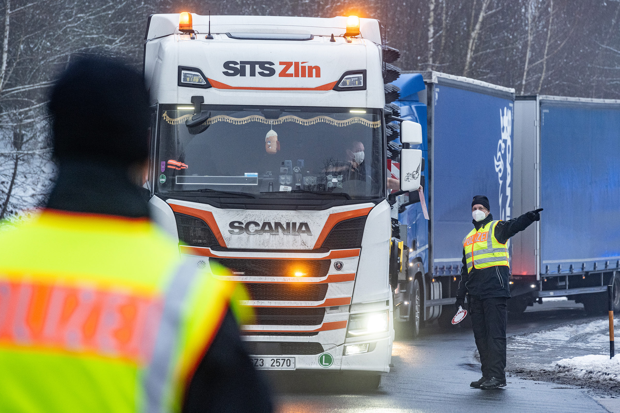 Police officers check vehicles at the Germany-Czech Republic border on February 16, in Bavaria, Germany.