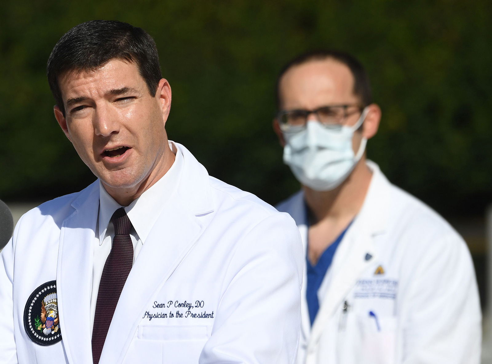 White House physician Dr. Sean Conley answers questions during an update on the condition of US President Donald Trump on October 5, at Walter Reed Medical Center in Bethesda, Maryland.