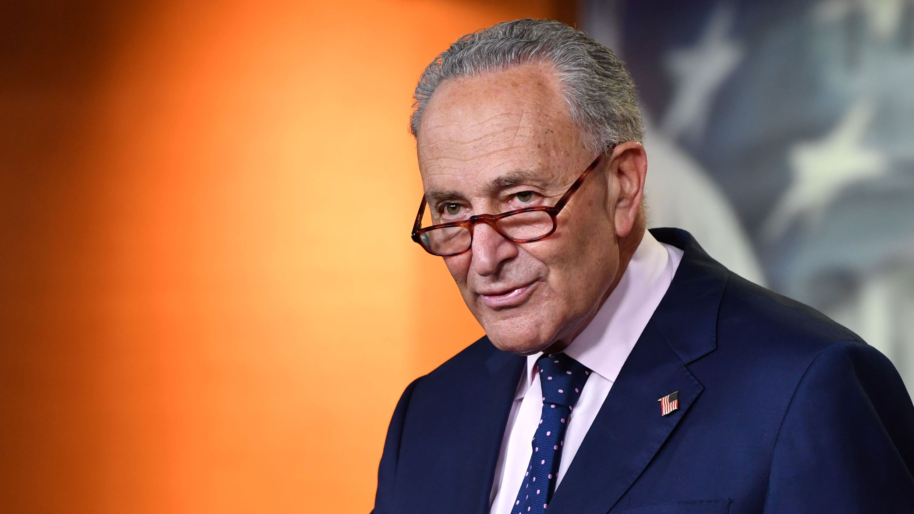 Senate Minority Leader Chuck Schumer attends Speaker of the House Nancy Pelosi's weekly press briefing on July 23 in Washington, DC.
