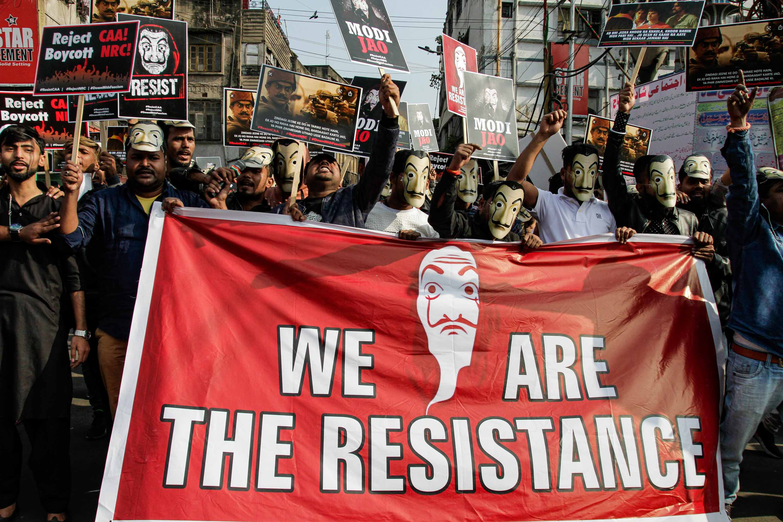 Protestors rally to demand the withdrawal of the Citizenship Amendment Act in Kolkata on Thursday. Photo: Bikas Das/AP