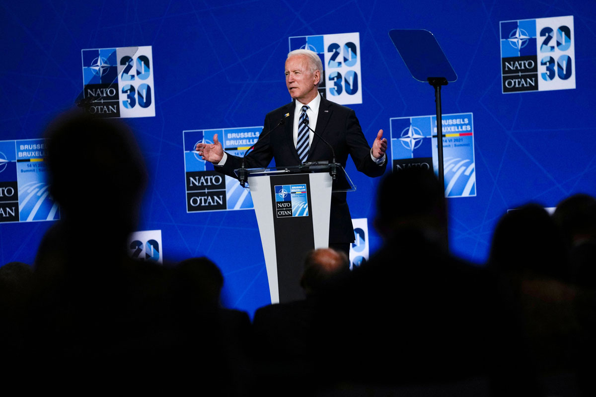 US President Joe Biden speaks during a press conference at the NATO headquarters in Brussels, on June 14.